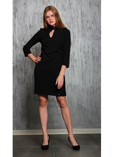 JEANNE D'ARC Truvakar Kol Yakada Bağlama Detaylı Elbise  Siyah